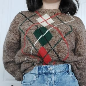 Vintage   argyle knitted sweater